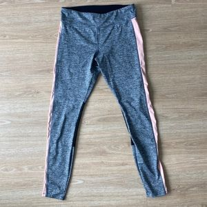 Forever 21 Grey with Pink Stripe & Mesh Leggings M